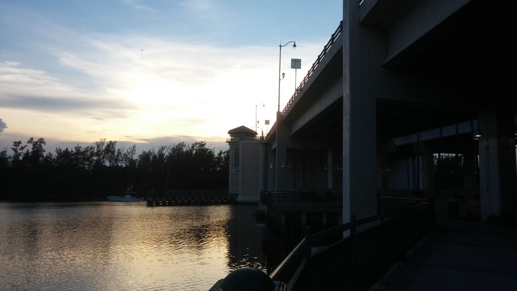 The view from under the Indiantown Road Bridge at sunset.
