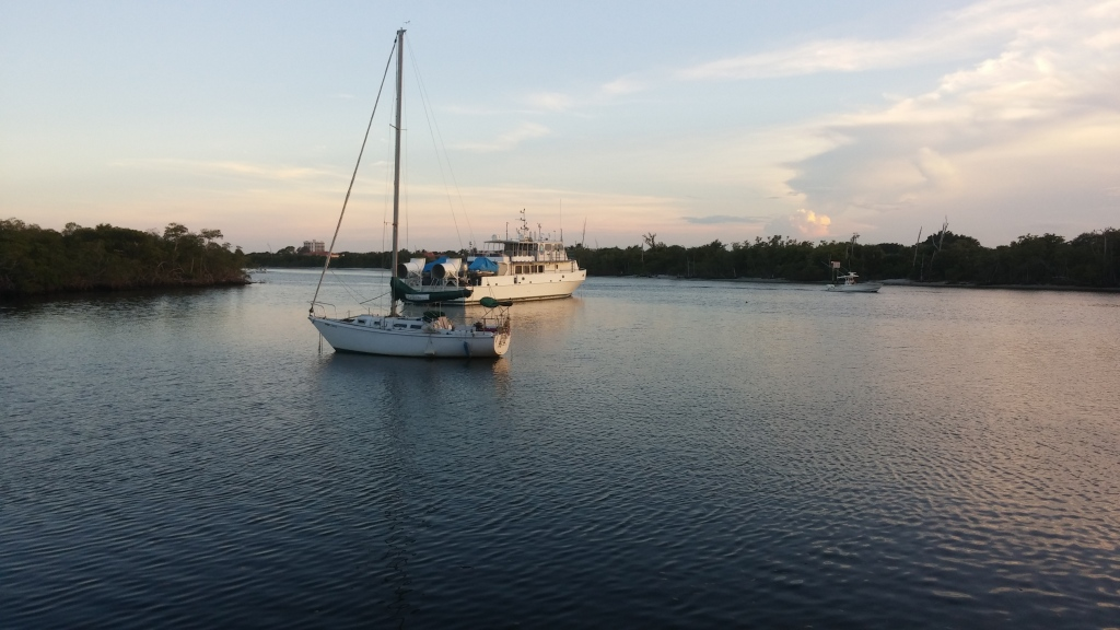 Boats on the Intracoastal waterway at sunset.