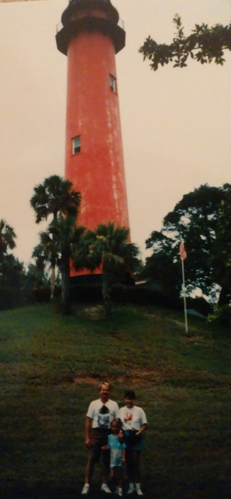 My dad, mom, and me in front of the Jupiter Lighthouse in the mid-1990s.