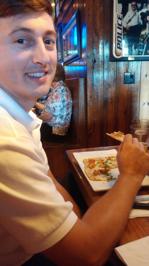 P enjoying his Zinger flatbread.