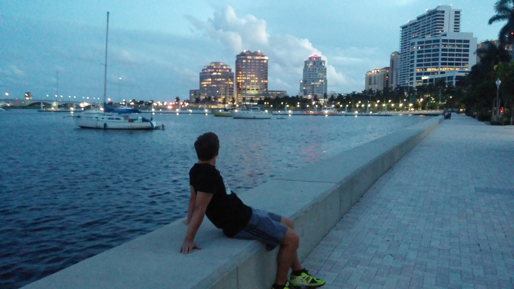P enjoying the view of the Intracoastal from the Downtown Waterfront.