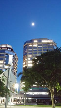 Moonrise over Downtown West Palm Beach.