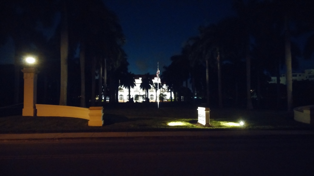 The Flagler Museum lit up at night... just a wee bit spooky.